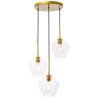Living District LD2258BR Gene 3 Light 18 inch Brass Pendant Ceiling Light