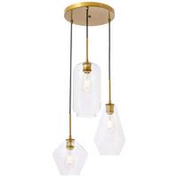 Living District LD2268BR Gene 3 Light 17 inch Brass Pendant Ceiling Light