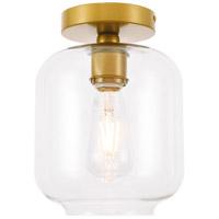 Living District LD2270BR Collier 1 Light 7 inch Brass Flush Mount Ceiling Light