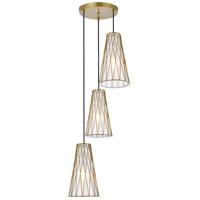 Living District LD2416BR Modesta 3 Light 15 inch Brass Pendant Ceiling Light