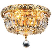 Living District LD2528F10G Wiley 4 Light 10 inch Gold Flush Mount Ceiling Light