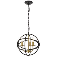 Living District LD4006D14BRD Octavia 3 Light 14 inch Brass and Dark Brown Pendant Ceiling Light