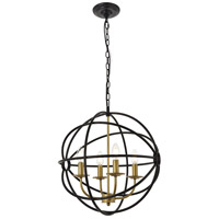 Living District LD4006D18BRD Octavia 4 Light 18 inch Brass and Dark Brown Pendant Ceiling Light