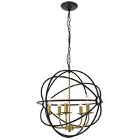Living District LD4006D20BRD Octavia 5 Light 20 inch Brass and Dark Brown Pendant Ceiling Light
