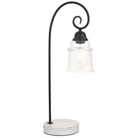 Spire 23 inch 40 watt Black with White Marble Table lamp Portable Light