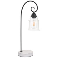 Living District LD4007T9BK Spire 23 inch 40 watt Black with White Marble Table lamp Portable Light alternative photo thumbnail