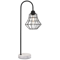 Living District LD4008T11BK Candor 27 inch 40 watt Black with White Marble Table lamp Portable Light