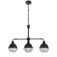 Living District LD4009D30BK Gibil 3 Light 7 inch Black Pendant Ceiling Light