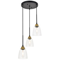 Living District LD4013D16BRB Felicity 3 Light 16 inch Brass and Black Pendant Ceiling Light