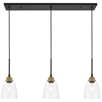 Living District LD4013D38BRB Felicity 3 Light 6 inch Brass and Black Pendant Ceiling Light