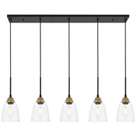 Living District LD4013D46BRB Felicity 5 Light 6 inch Brass and Black Pendant Ceiling Light