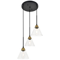 Living District LD4017D18BRB Histoire 3 Light 18 inch Brass and Black Pendant Ceiling Light