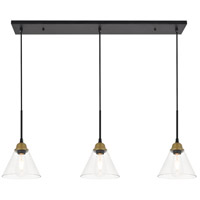 Living District LD4017D40BRB Histoire 3 Light 7 inch Brass and Black Pendant Ceiling Light