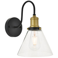 Living District LD4017W7BRB Histoire 1 Light 8 inch Brass and Black Wall Sconce Wall Light