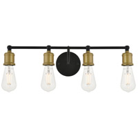 Living District LD4028W22BRB Serif 4 Light 22 inch Brass and Black Wall Sconce Wall Light