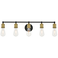 Living District LD4028W29BRB Serif 5 Light 29 inch Brass and Black Wall Sconce Wall Light photo thumbnail