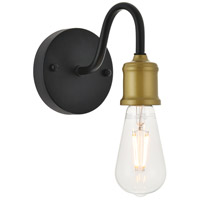 Living District LD4028W5BRB Serif 1 Light 5 inch Brass and Black Wall Sconce Wall Light