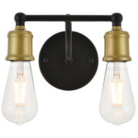 Living District LD4028W9BRB Serif 2 Light 9 inch Brass and Black Wall Sconce Wall Light