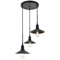 Living District LD4033D20BK Etude 3 Light 19 inch Black Pendant Ceiling Light photo thumbnail