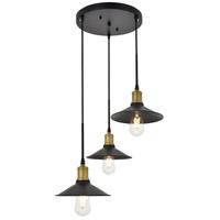 Living District LD4033D20BRB Etude 3 Light 19 inch Brass and Black Pendant Ceiling Light