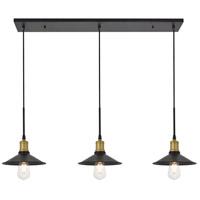 Living District LD4033D42BRB Etude 3 Light 9 inch Brass and Black Pendant Ceiling Light