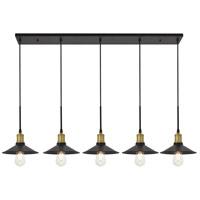 Living District LD4033D49BRB Etude 5 Light 9 inch Brass and Black Pendant Ceiling Light