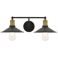 Living District LD4033W21BRB Etude 2 Light 21 inch Brass and Black Wall Sconce Wall Light