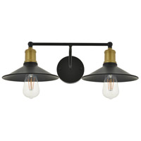 Living District LD4033W21BRB Etude 2 Light 21 inch Brass and Black Wall Sconce Wall Light alternative photo thumbnail