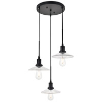 Living District LD4040D19BK Waltz 3 Light 19 inch Black Pendant Ceiling Light
