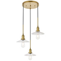 Living District LD4040D19BR Waltz 3 Light 19 inch Brass Pendant Ceiling Light