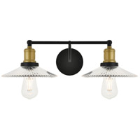 Living District LD4040W21BRB Waltz 2 Light 21 inch Brass and Black Wall Sconce Wall Light