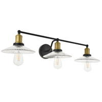 Living District LD4040W33BRB Waltz 3 Light 33 inch Brass and Black Wall Sconce Wall Light alternative photo thumbnail