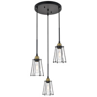 Living District LD4047D16BRB Auspice 3 Light 16 inch Brass and Black Pendant Ceiling Light photo thumbnail