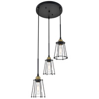 Living District LD4047D16BRB Auspice 3 Light 16 inch Brass and Black Pendant Ceiling Light alternative photo thumbnail