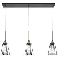 Living District LD4047D38BRB Auspice 3 Light 5 inch Brass and Black Pendant Ceiling Light