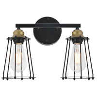 Living District LD4047W15BRB Auspice 2 Light 14 inch Brass and Black Wall Sconce Wall Light