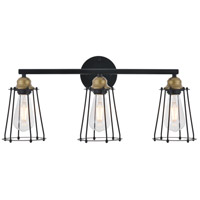 Living District LD4047W24BRB Auspice 3 Light 23 inch Brass and Black Wall Sconce Wall Light