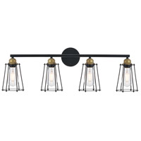 Living District LD4047W33BRB Auspice 4 Light 33 inch Brass and Black Wall Sconce Wall Light