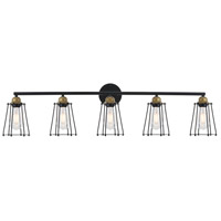 Living District LD4047W42BRB Auspice 5 Light 42 inch Brass and Black Wall Sconce Wall Light