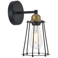 Living District LD4047W5BRB Auspice 1 Light 5 inch Brass and Black Wall Sconce Wall Light