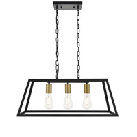 Living District LD4061D25BRB Resolute 3 Light 11 inch Brass and Black Pendant Ceiling Light