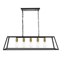 Living District LD4061D38BRB Resolute 5 Light 11 inch Brass and Black Pendant Ceiling Light