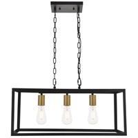 Living District LD4063D25BRB Resolute 3 Light 9 inch Brass and Black Pendant Ceiling Light