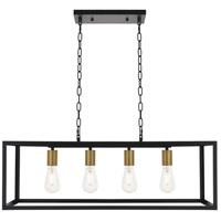 Living District LD4063D32BRB Resolute 4 Light 9 inch Brass and Black Pendant Ceiling Light