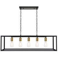 Living District LD4063D38BRB Resolute 5 Light 9 inch Brass and Black Pendant Ceiling Light