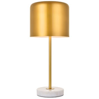 Living District LD4075T10SG Exemplar 21 inch 40 watt Satin Gold and White Marble Table lamp Portable Light