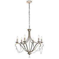 Living District LD5004D26AS Baez 6 Light 26 inch Antiqued Silver Chandelier Ceiling Light