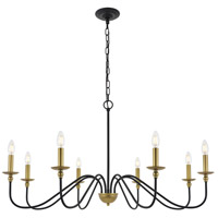 Living District LD5006D42BRB Rohan 8 Light 42 inch Matte Black and Brass Pendant Ceiling Light