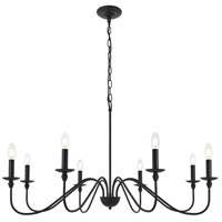 Living District LD5006D42MB Rohan 8 Light 42 inch Matte Black Pendant Ceiling Light