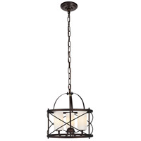 Wren 3 Light 16 inch Dark Copper Brown and White Pendant Ceiling Light